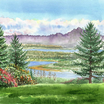 Painting - Morning At The River Watercolor Landscape by Irina Sztukowski