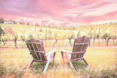 Photograph - Morning At The Vineyard Summer Romance by Debra and Dave Vanderlaan