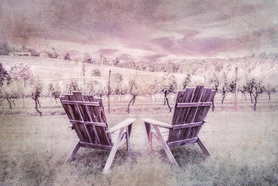 Photograph - Morning At The Vineyard Textured Painting by Debra and Dave Vanderlaan