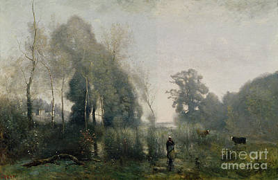 The Shepherdess Painting - Morning At Ville Davray by Jean Baptiste Camille Corot