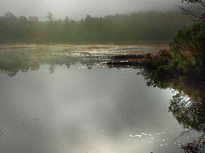 Photograph - Morning Autumn Mist On Baker Pond by Nancy Griswold