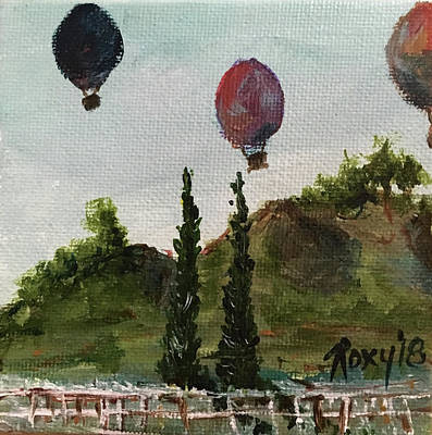 Landscapes Painting - Morning Balloons by Roxy Rich