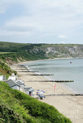 Dorset Photograph - Morning Bay Pt Looking Up Swanage Bay On A Summer Morning Beach Scene by Andy Smy