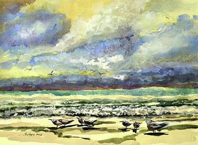 Painting - Morning Beach Birds by Julianne Felton