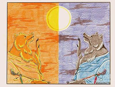 Drawing - Morning Bear Greets The Sun, Evening Bear Greets The Moon by Wendy Coulson