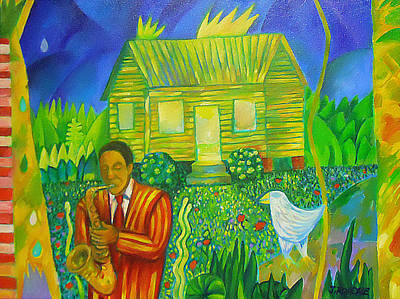 Morning Bird With Yellow House Art Print by Joe Roache