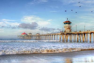 Photograph - Morning Birds Over Pier by Richard Omura