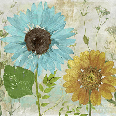 Blue And Gold Painting - Morning Blue I by Mindy Sommers