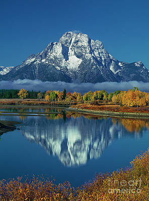 Photograph - Morning Cloud Layer Oxbow Bend In Fall Grand Tetons National Park by Dave Welling