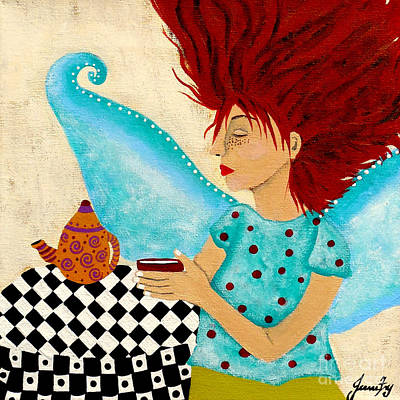 Painting - Morning Coffee And Fairy Freckles by Jean Fry