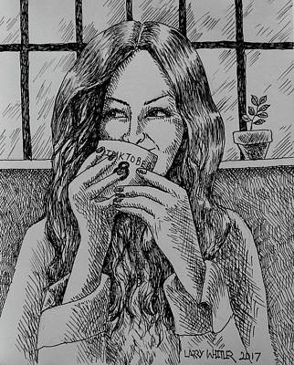 Drawing - Morning Coffee by Larry Whitler