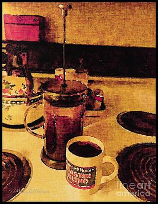 Teapot Mixed Media - Morning Coffee by MaryLee Parker