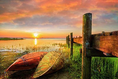 Photograph - Morning Color On The Canoes by Debra and Dave Vanderlaan