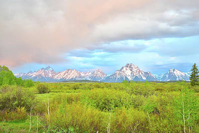 Photograph - Morning Color Over The Tetons And Mt. Moran by Ray Mathis