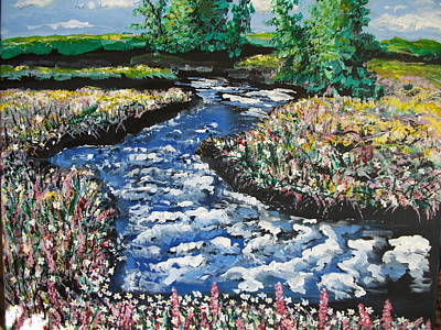Art Print featuring the painting Morning Creekside by Dan Whittemore