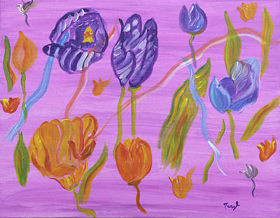 Painting - Morning Delight Tulips by Meryl Goudey