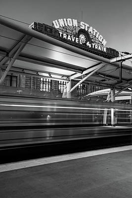 Photograph - Morning Departure At Union Station In Denver Lodo District - Black And White by Gregory Ballos