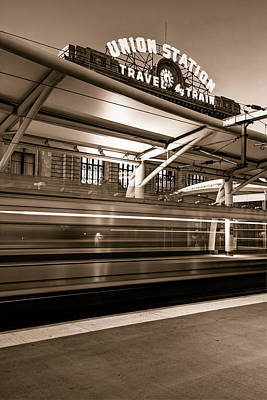 Photograph - Morning Departure At Union Station In Denver Lodo District - Sepia by Gregory Ballos