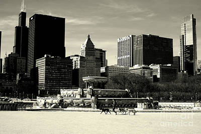 Photograph - Morning Dog Walk - City Of Chicago by Frank J Casella
