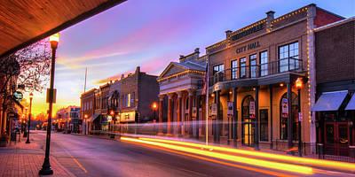 Photograph - Morning Downtown Bentonville Arkansas Skyline Panorama by Gregory Ballos