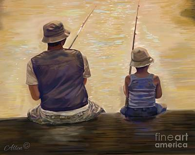 Painting - Morning Fishing by Leslie Allen