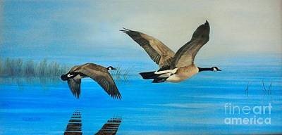 Canadian Geese Painting - Morning Flight by Kevin Ballew