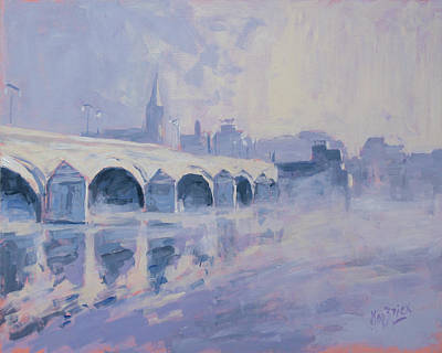 Painting - Morning Fog Around The Old Bridge by Nop Briex
