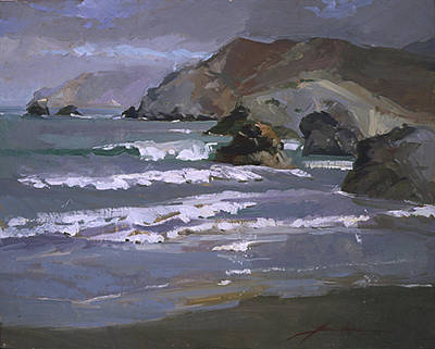 Betty Billups Wall Art - Painting - Morning Fog Shark Harbor - Catalina Island by Betty Jean Billups