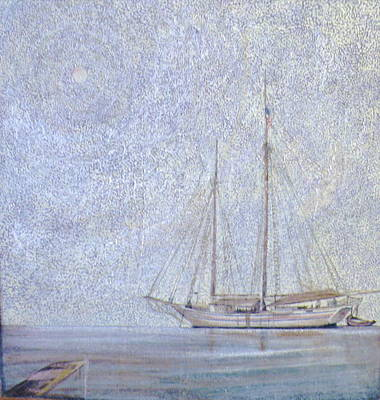 Water Vessels Mixed Media - Morning Fog At Wooden Boat Maine by Wendy Hill