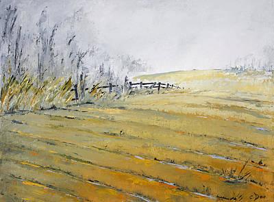 Farm Fields Painting - Morning Fog by Carolyn Doe