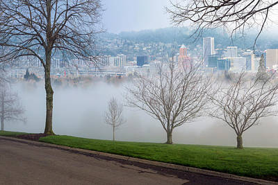Morning Fog Over City Of Portland Skyline Art Print by David Gn