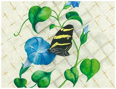 Morning Glories And Butterfly Art Print by Sally Balfany