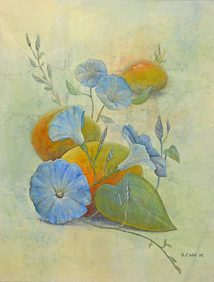 Painting - Morning Glories And Mangoes by Sandy Clift
