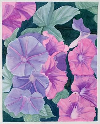 Morning Glories Art Print by Barbara Pascal