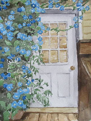 Back Porch Painting - Morning Glories By The Back Door by Becky Noble