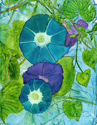 Purple Flowers Painting - Morning Glories In Watercolor On Yupo by Conni Schaftenaar