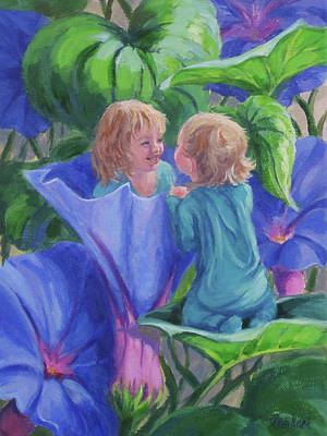 Painting - Morning Glories by Karen Ilari