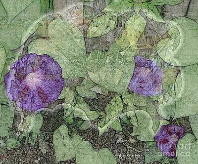 Digital Art - Morning Glories by Kathie Chicoine