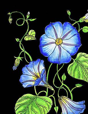 Painting - Morning Glory Flower Watercolour by Irina Sztukowski