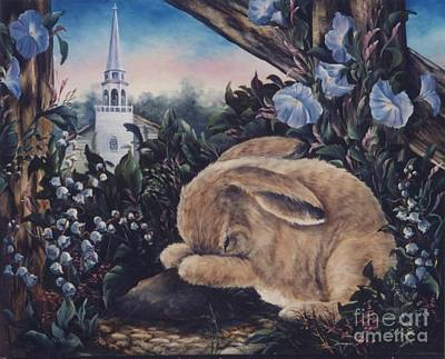 Fauna Painting - Morning Glory Praying Bunny by Jean Harrison