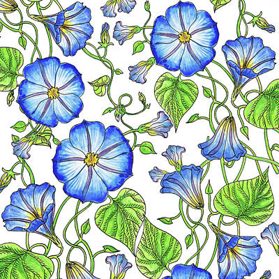 Painting - Morning Glory Watercolor Pattern by Irina Sztukowski