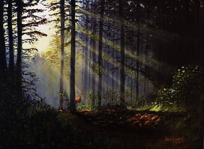 Painting - Morning Glow In The Forest by David Hawkes