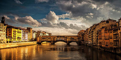 Morning Glow On Ponte Vecchio Art Print by Andrew Soundarajan