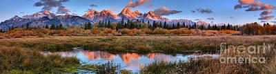 Photograph - Morning Glow Panorama At Grand Teton by Adam Jewell