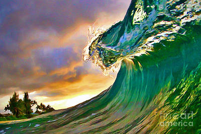 Surfing Art Painting - Morning Glow by Paul Topp