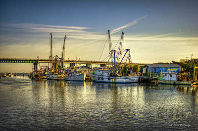 Dawns Morning Glow Tybee Island Shrimp Boat Art Art Print