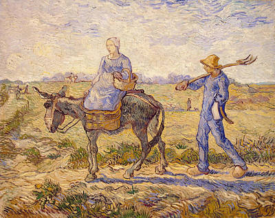 Farmland Painting - Morning, Going Out To Work, After Millet by Vincent van Gogh