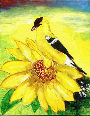 Goldfinch Drawing - Morning Goldfinch by Nancy Suiter