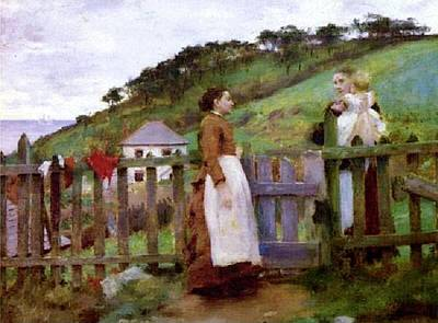 Print featuring the painting Morning Gossip by Henry Scott Tuke