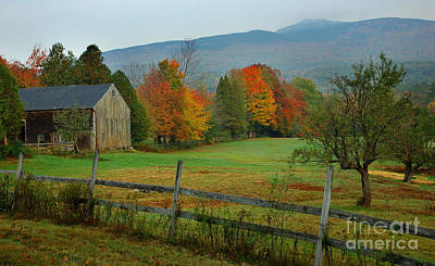 Country Scene Photograph - Morning Grove - New England Fall Monadnock Farm by Jon Holiday